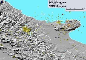Epicentro scossa sismica Monti Dauni