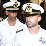 I maro' italiani Salvatore Girone (D) e Massimiliano Latorre (S) nel tribunale di Kollam, India, 2 giugno 2012 (Ph: Ansa Maurizio Salvi)