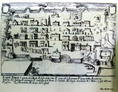 """Una cartina della """"Manfredonia antica"""". Fra i fondi stanziati nel piano triennale delle OO.PP. il """"Recupero e restauro Torrioni dell'antica Città"""" per 412.500 euro (ST)"""