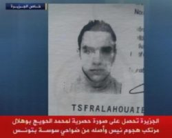 Un fermo immagine tratto da Sky Tg24 mostra Mohamed Lahoujaiej Bouhlel, il killer di Nizza ucciso dalla polizia, 15 luglio 2016. ANSA/SKY TG24 ANSA PROVIDES ACCESS TO THIS HANDOUT PHOTO TO BE USED SOLELY TO ILLUSTRATE NEWS REPORTING OR COMMENTARY ON THE FACTS OR EVENTS DEPICTED IN THIS IMAGE; NO ARCHIVING; NO LICENSING