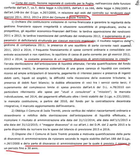delibera corte  conti (189/PRSP/2016)