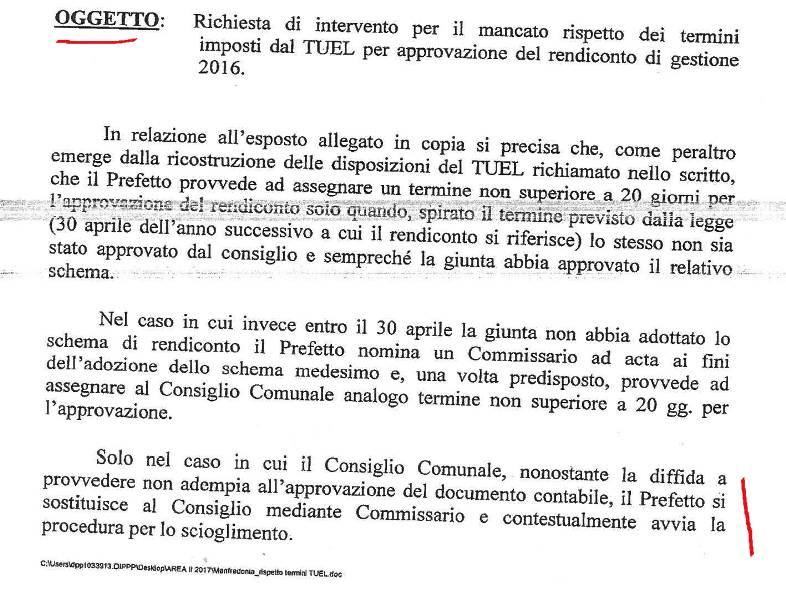 PAGINA 1, NOTA PREFETTO FOGGIA 05.05.2017