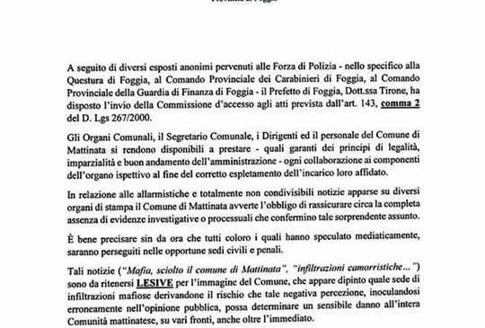 comunicato stampa -Comune Mattinata, 24.05.2017