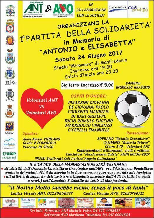 """Manfredonia, """"I partita della solidarietà, in memoria di Antonio ed Elisabetta"""" PRIMA PARTITA DELLA SOLIDARIETA'"""