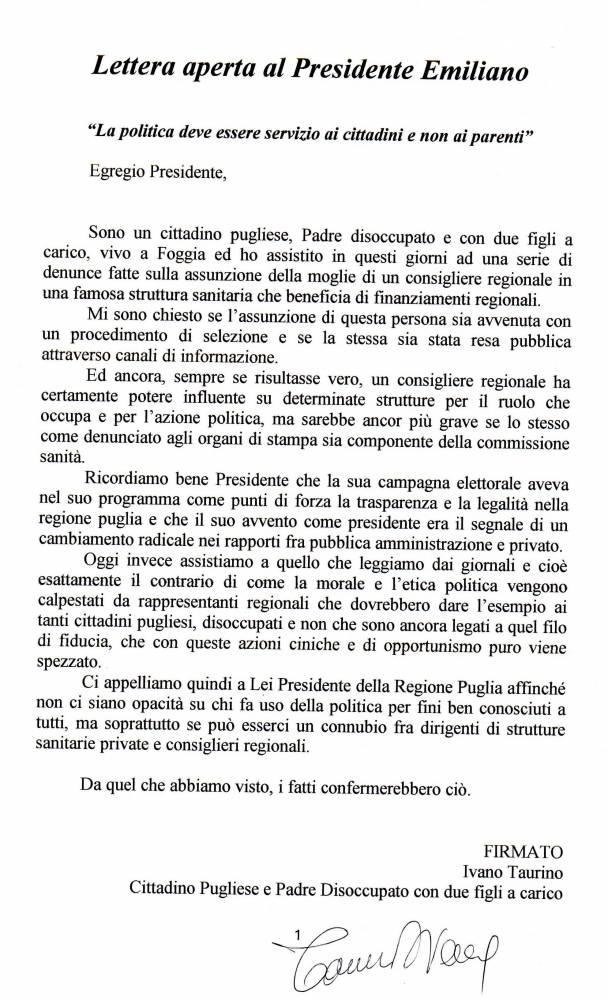 """Assunzioni in strutture private, lettera """"disoccupato"""" di Foggia ad Emiliano"""