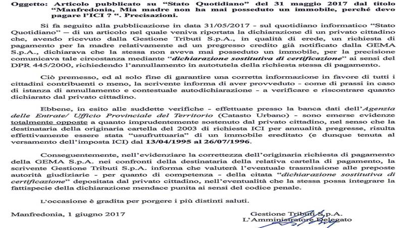 Replica gestione tributi a privato di Manfredonia che aveva contestato un invito al pagamento relativo all'ICI