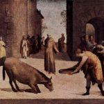 Museo di Louvre-Sant'Antonio e il miracolo della mula dipinto da Domenico Beccafuni nel 1537-