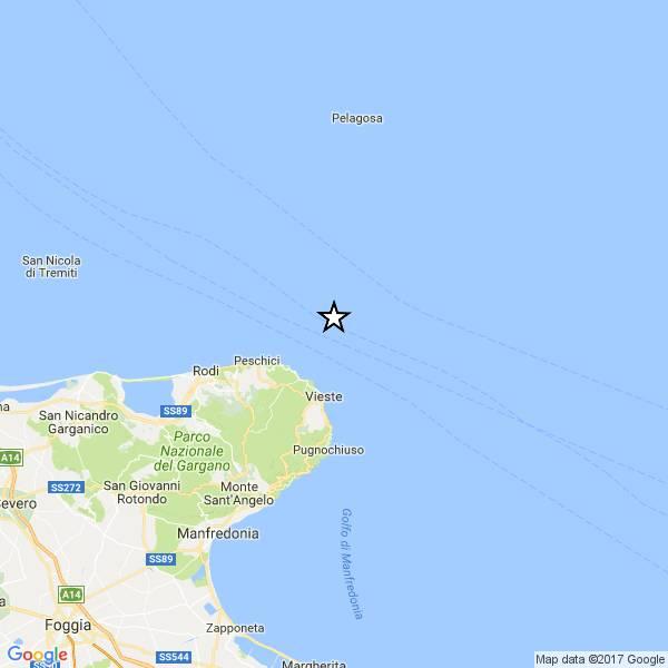 Un terremoto di magnitudo ML 2.3 è avvenuto nella zona: Costa Garganica
