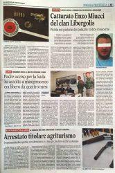 """""""Gazzetta del Mezzogiorno"""" - """"Gazzetta della Capitanata"""" data 26.08.2017. pg. xi  - Articolo arresto Miucci"""