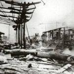 Foggia 1943 – Interno della stazione ferroviaria dopo i bombardamenti alleati.