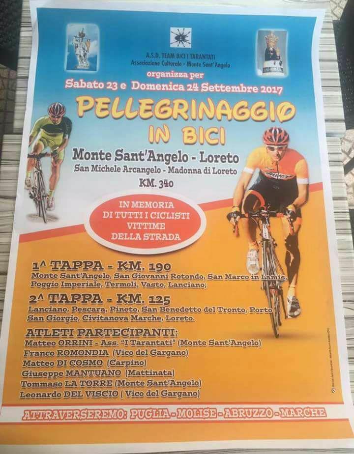 Da Monte Sant'Angelo a Loreto.. in bici Il pellegrinaggio attraverserà la Puglia, il Molise, l'Abruzzo e le Marche