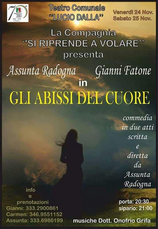 """Manfredonia, """"Gli abissi del cuore"""" Con Assunta Radogna e Gianni Fatone. Musiche dott. Onofrio Grifa"""