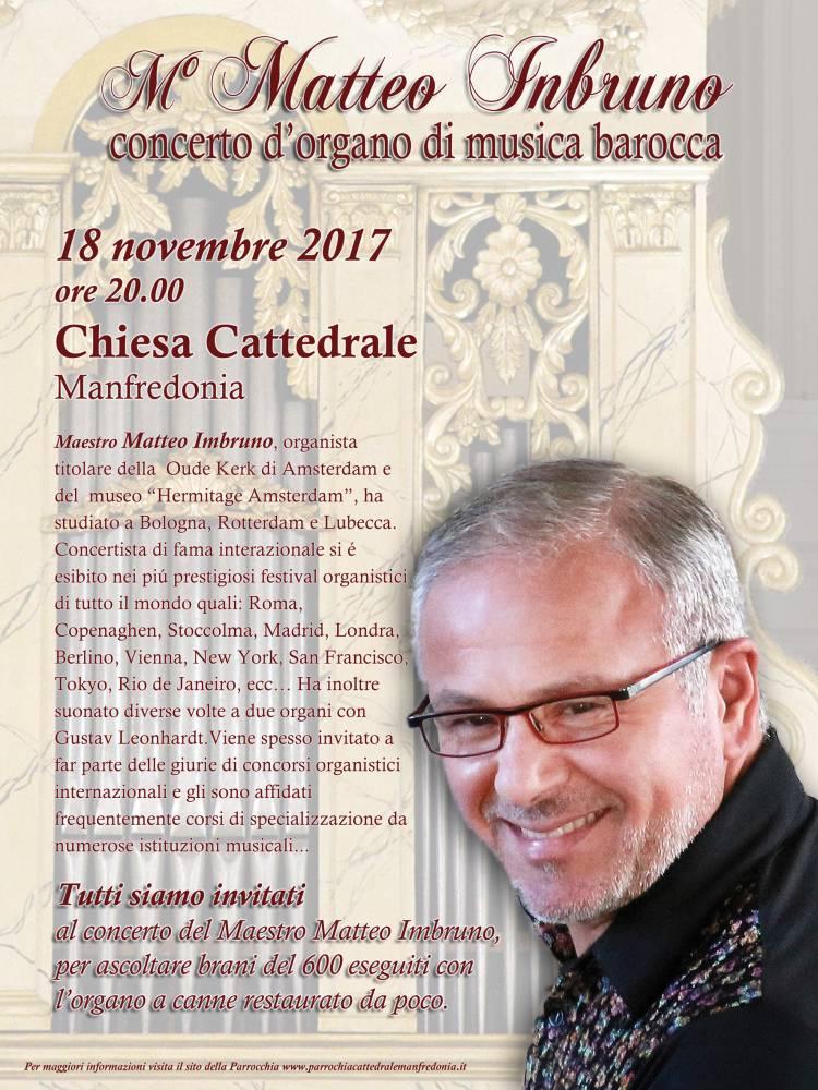 Manfredonia, M° Matteo Imbruno: concerto d'organo di musica barocca