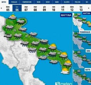 Meteo Puglia, Lunedì dell'Angelo (fonte: 3bmeteo)