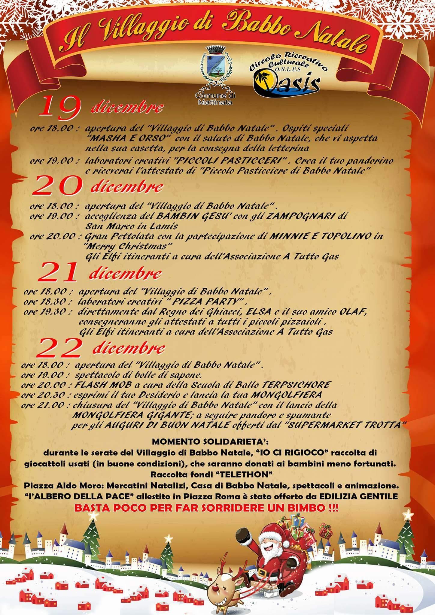 Immagini Del Villaggio Di Babbo Natale.Mattinata Dal 19 Al 22 Dicembre Ii Edizione Del Villaggio