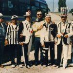 Tifosi Juve manfredoniani e baresi all'Heisel di Bruxelles-G.Mondelli (primo a sinistra) -M. Santoro e T. Catalano (al centro)
