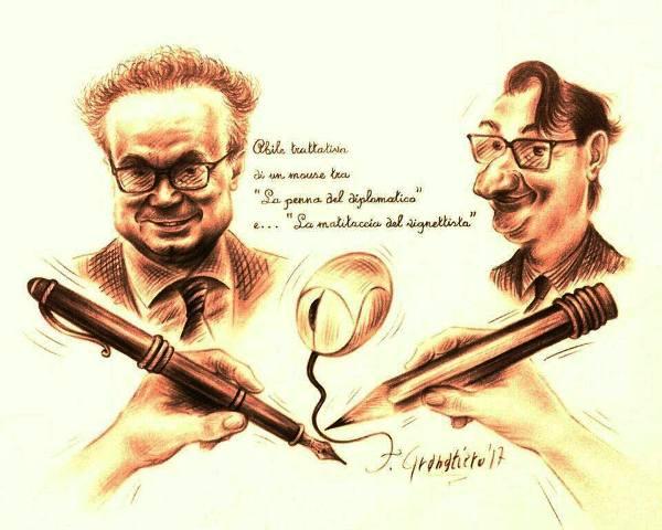 La vignetta 'Diplomatic Mouse', raffigurante Francesco Granatiero e l'ambasciatore Baldi, presente nell'ingresso dell'ufficio dell'ambasciatore a Sofia