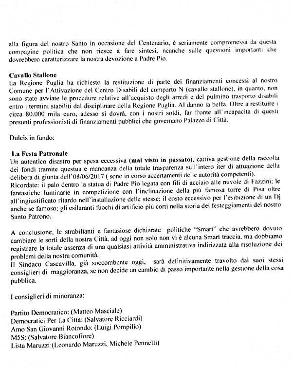 SAN GIOVANNI ROTONDO - COMUNICATO STAMPA OPPOSIZIONE - 28.06.2017