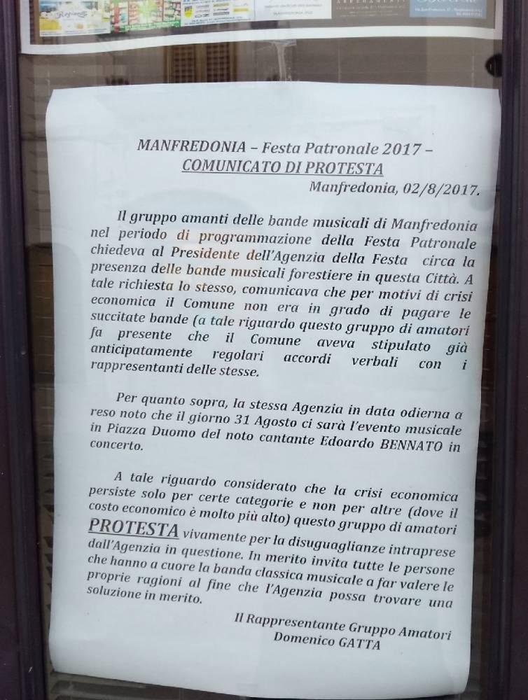 COMUNICATO DI PROTESTA - DOMENICO GATTA (MANFREDONIA, 06.08.2017)