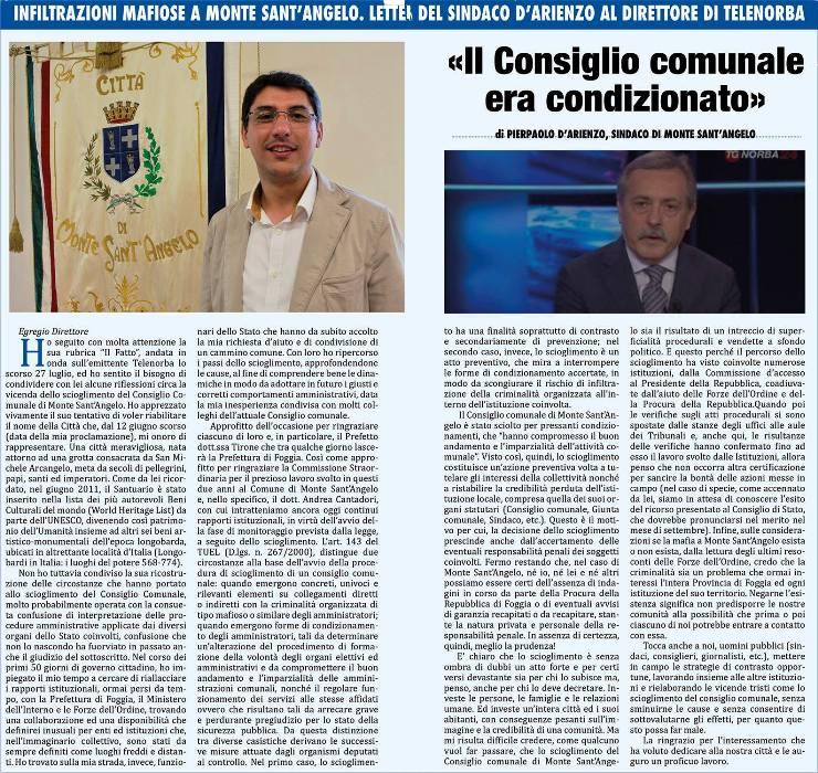 La lettera del sindaco di Monte d'Arienzo inviata al Il Mattino di Foggia; stamani la risposta di di Iasio
