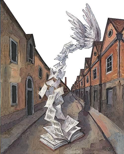 """""""Volantini"""", 1986 . Il quadro si riferisce a una serie di opere (ben 20 schizzi) che Wolfgang Lettl ha dipinto negli anni 1986 ‐1990 per il giornale tedesco """"Die Welt"""" - All rights reserved – © Wolfgang Lettl"""