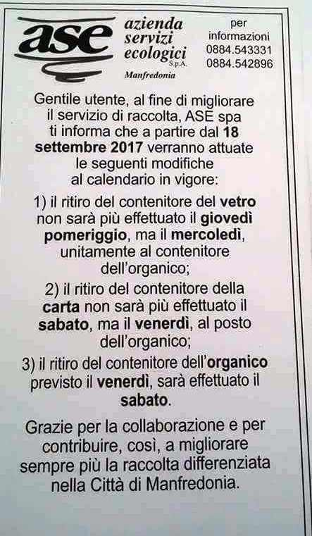 Calendario Attuale.Manfredonia Raccolta Differenziata Modifiche All Attuale