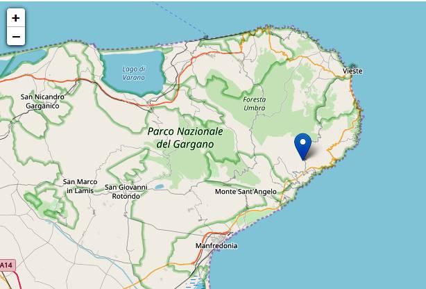 Terremoto di magnitudo ML 2.7 del 19-09-2017 ore 22:58:02 (Italia) in zona: 5 km NE Mattinata (FG)