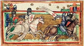Fig 6. Disegno su di una mappa di Gerusalemme raffigurante un cavaliere templare, 1170 circa.