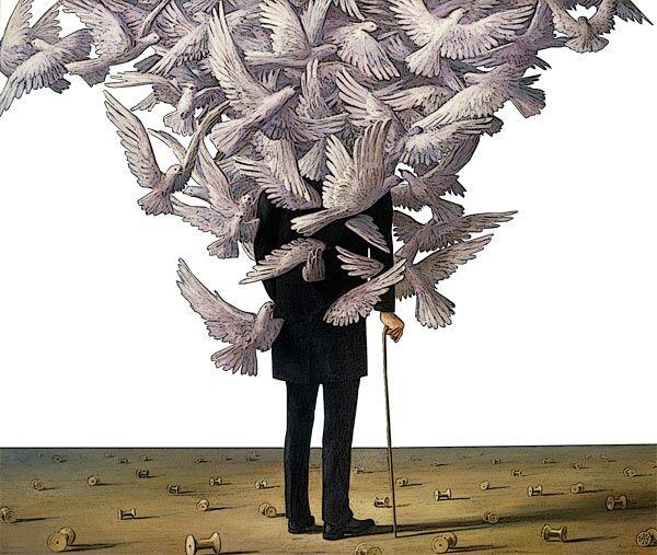 """Nel dipinto """"La metamorfosi"""" compaiono per la prima volta uccelli bianchi nel´opera di Wolfgang Lettl -  Su idea, richiesta e gentile concessione di Florian Lettl, che si ringrazia. All rights reserved – © Wolfgang Lettl"""