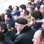 Don Andrea Papagno in tribuna durante una partita di calcio di Serie C 1 del Manfredonia, con il suo inseparabile basco nero in testa-foto F.Rinaldi