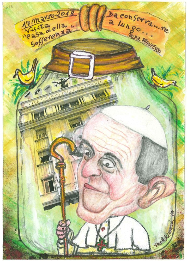 """17 marzo 2018 Papa Francesco si è trattenuto alla """"Casa Sollievo della Sofferenza"""" per aver visitato il reparto Oncologico-Pediatrico. (Vignetta 618)"""