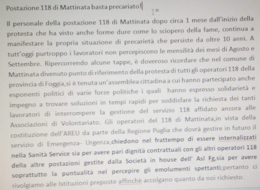 Postazione 118 di Mattinata, basta precariato