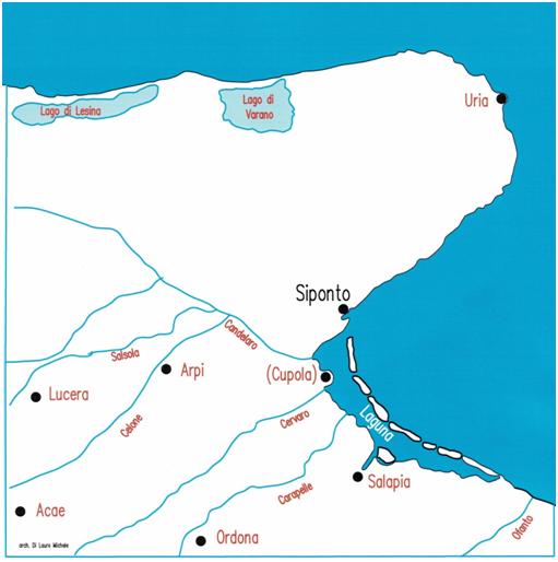 Fig. 1 Corografia dell'antica laguna costiera e del suo retroterra, nel periodo della fondazione di Siponto.  La città sorse ai margini della laguna nel territorio sottratto ad Arpi, città che nella guerra contro Annibale si era schierata contro i Romani.