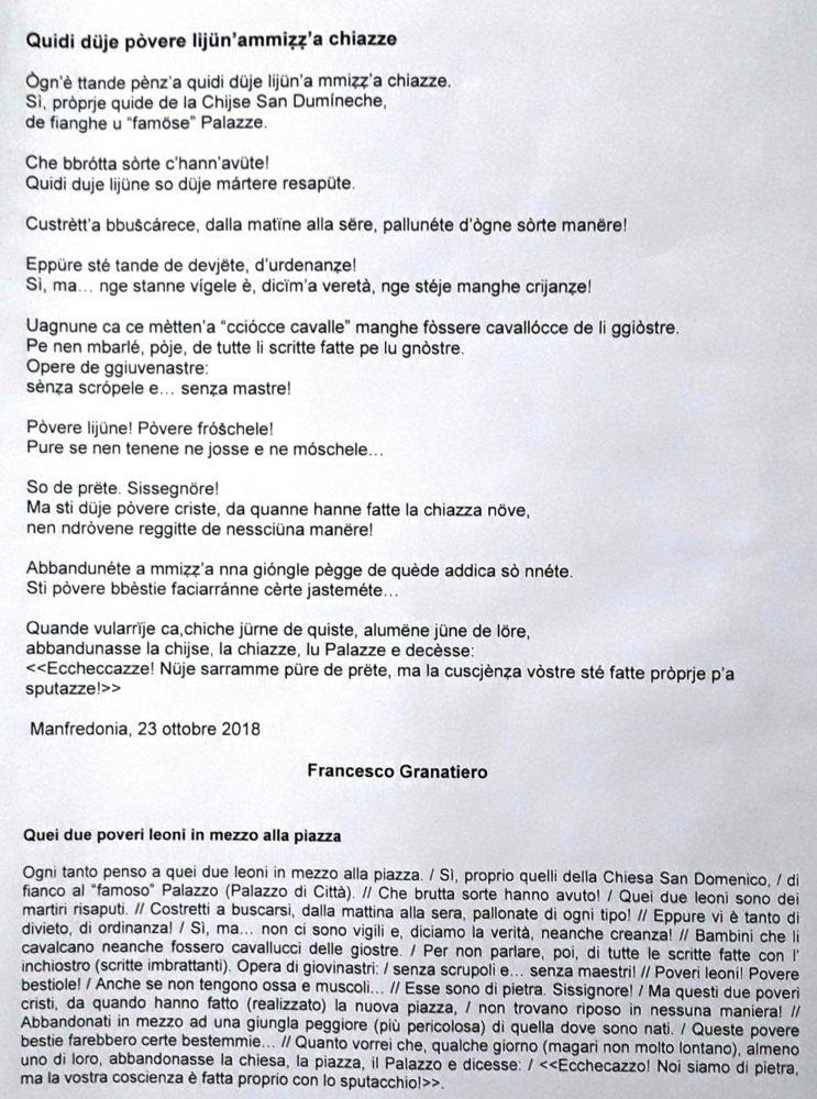 testo + traduzione satira I DUE LEONI IN MEZZO ALLA PIAZZA_F-Grantiero_ott 2018