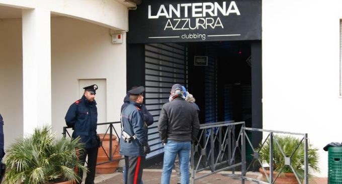 Carabinieri officers stand in front of the disco 'Lanterna Azzurra' in Corinaldo, central Italy, central Italy, 08 December 2018. At least Six people, all but one of them minors, were killed and about 35 others injured in a stampede of panicked concertgoers early Saturday at a disco in a small town on Italy's central Adriatic coast.