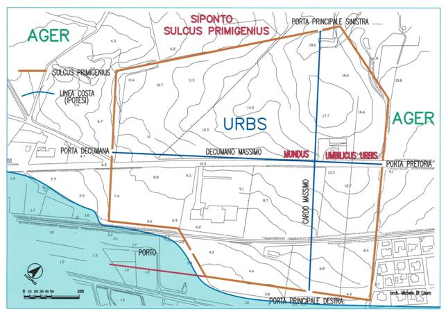 Fig.1: Siponto, Sulcus Primigenius – Il solco sarà realizzato perimetrando l'altura tufacea presente ai margini della laguna. Il sulcus non sarà scavato in corrispondenza delle quattro porte della città e in corrispondenza dell'accesso all'area portuale.