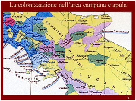Fig.2 : La colonizzazione nell'area campana e apula. L'immagine è stata tratta da una presentazione sul web relativa alla colonizzazione dell'Italia meridionale nel II sec. a.C. Si nota come il territorio di Siponto si estendeva all'interno fino ai confini con la Campania.  https://slideplayer.it/slide/1005251/3/images/8/