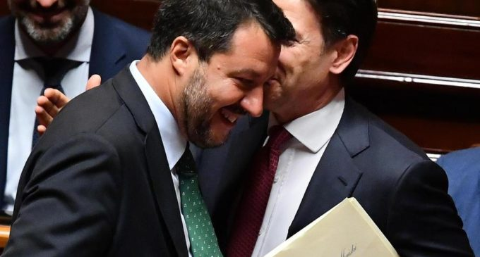Italian Premier Giuseppe Conte (R) speaks with Deputy Premier and Interior Minister Matteo Salvini (L) at the Senate in Rome, Italy, 20 August 2019. ANSA/ ETTORE FERRARI
